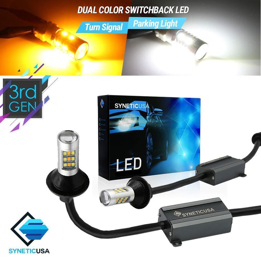 7443 Error Free Type-2 Switchback White//Amber All-in-One 112LED Turn Signal Bulb