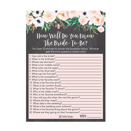 25 Floral How Well Do You Know The Bride Bridal Wedding Shower or Bachelorette Party Game, Flowers Who Knows The Best, Does The Groom? Couples Guessing Question Set of Cards Pack, Printed (8 Best Bachelorette Party Destinations)