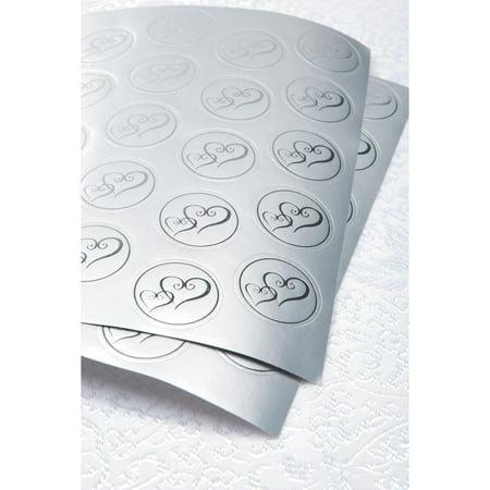 Victoria Lynn Foil Envelope Seals - Double Heart - Silver - 50 (Official Foil Seals)