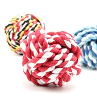 3 x Pets Weave Cotton Rope Ball Toys Colorful Woven Pet Dog Cat Toy, Large Size (Random Color)