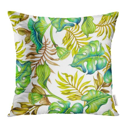 ARHOME Yellow Tropical Botanical Fresh Green Palm Leaves Watercolor Wild Jungle Foliage Pillow Case Pillow Cover 20x20 inch Throw Pillow -