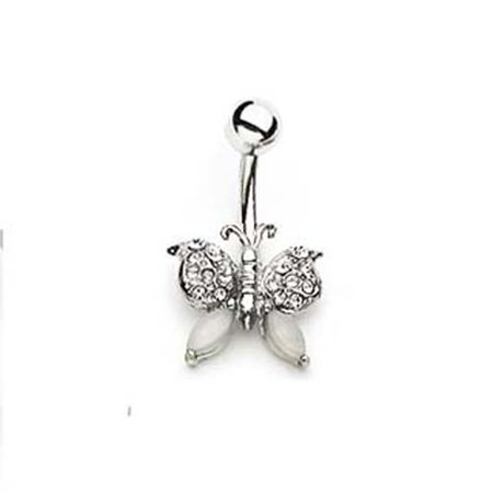 Silver Tone 14 G Navel Ring With Clear Gem Butterfly Belly Button Ring