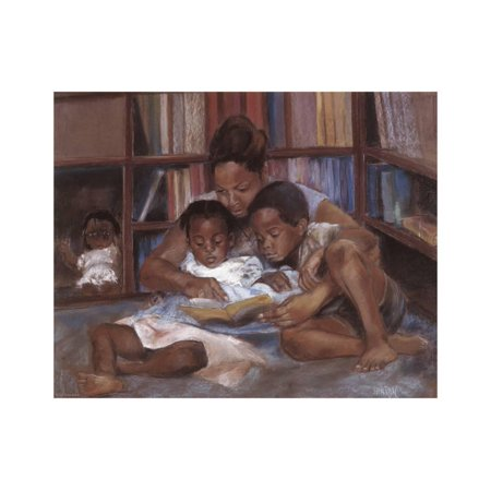 The Reading African American Mother with Children Family Artwork Print Wall Art By S. Wilson (African Art Work)