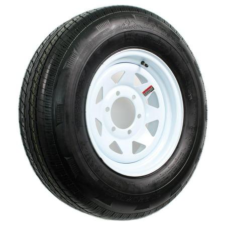 Radial Trailer Tire On Rim ST225/75R15 225/75-15 15 D 6 Lug Wheel White Spoke (Trailer Rims 6 Lug)