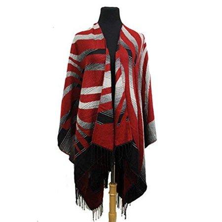 Fashion Secrets Women`s Two Tone Floral - Tiger - Leopard Printed Reversible Draped Cape Wool - Cashmere Felt Poncho Shawl Cardigan Sweater (Burgundy Tiger