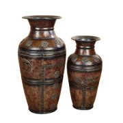 Metal Vase Set Of 2 Beautifully Carved