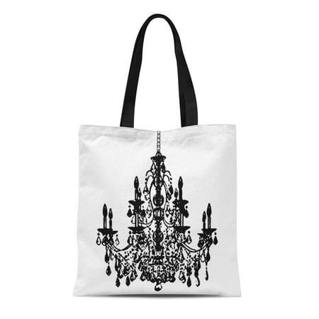 HATIART Canvas Tote Bag Photography Pixdezines Diy Black Chandelier Wall Crystal Reusable Handbag Shoulder Grocery Shopping Bags - image 1 de 1
