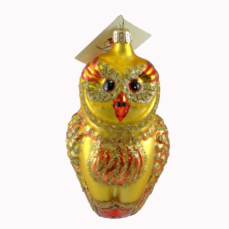 Laved Italian Ornaments GOLD OWL RED ACCENTS Glass Wise Bird Blown Glass ST14051