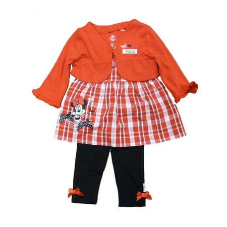 Disney Infant Girl Red White Minnie Mouse Shirt Shrug Black Leggings Outfit