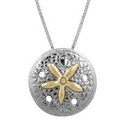 """Sterling Silver and 14k Gold Sand Dollar Necklace Pendant with 18"""" Box Chain"""