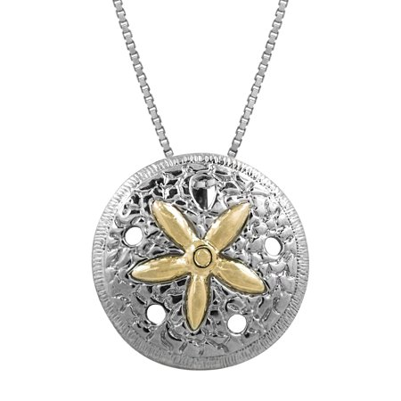 "Sterling Silver and 14k Gold Sand Dollar Necklace Pendant with 18"" Box Chain"