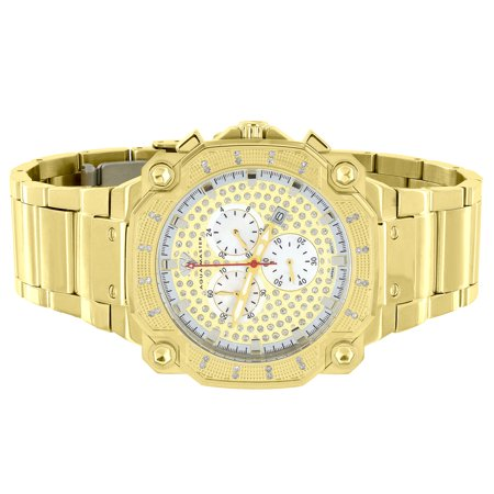 Stainless Steel Aqua Master Watch Mother Of Pearl Dial Gold Tone Watch 0.32CT Genuine Diamond New On Sale