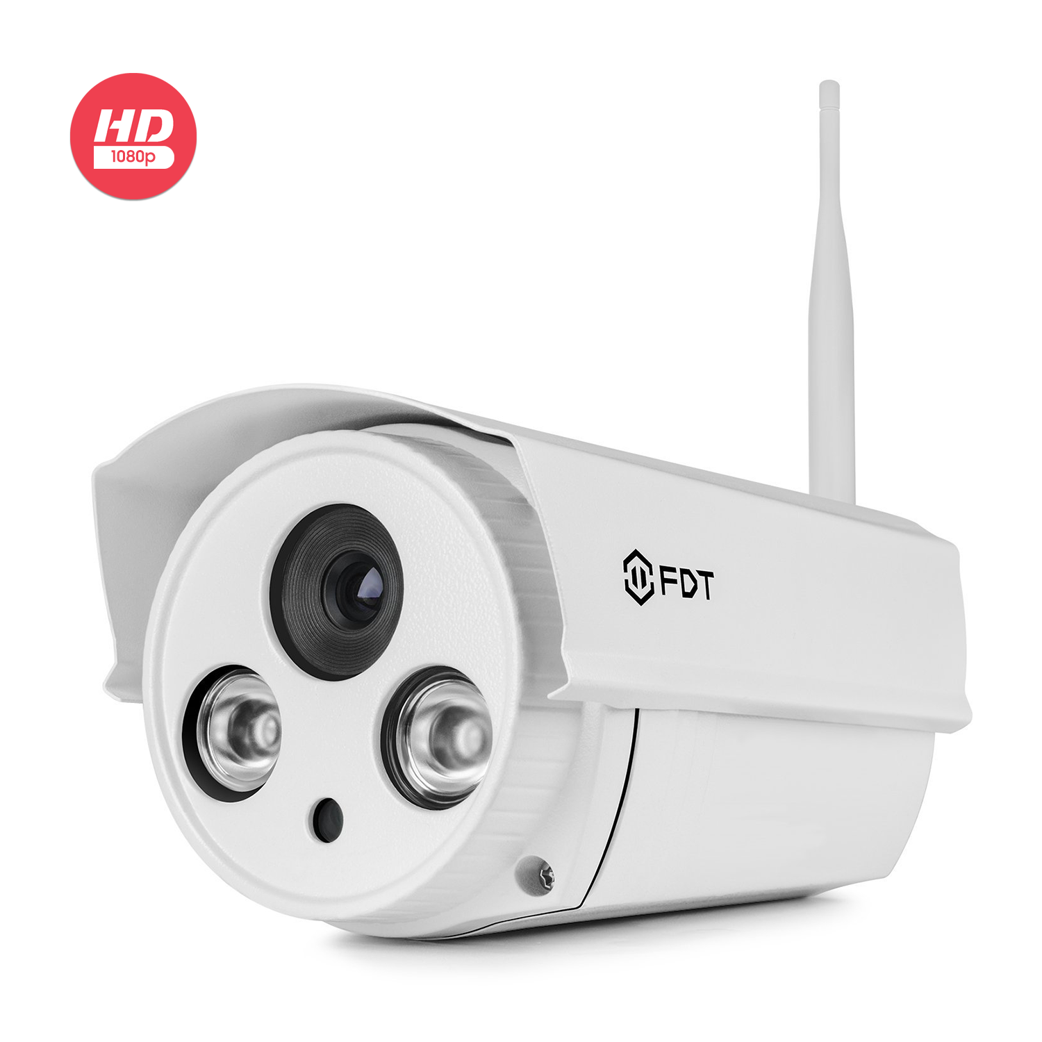 FDT 1080P HD WiFi Bullet IP Camera (2.0 Megapixel) Outdoor Wireless Security Camera FD8902 (White), Plug & Play & Nightvision w/ 16GB SD Card