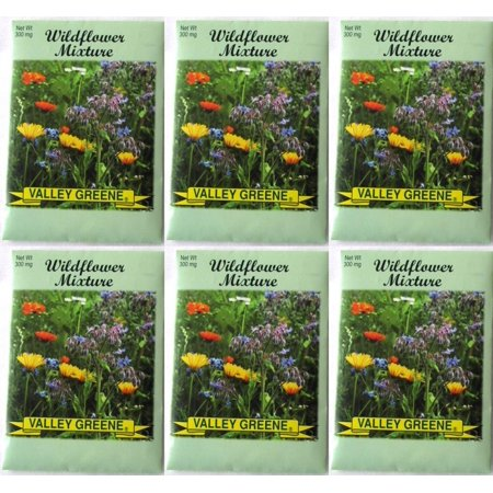 Valley Greene (6 Pack) 300 mg/Package Wildflower Mixture Heirloom Variety