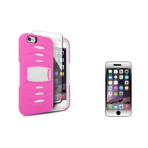iPhone 6s Plus / 6 Plus Dual Layer Hybrid Case with Stand by Insten - Pink/White (+ Tempered Glass Screen Protector)