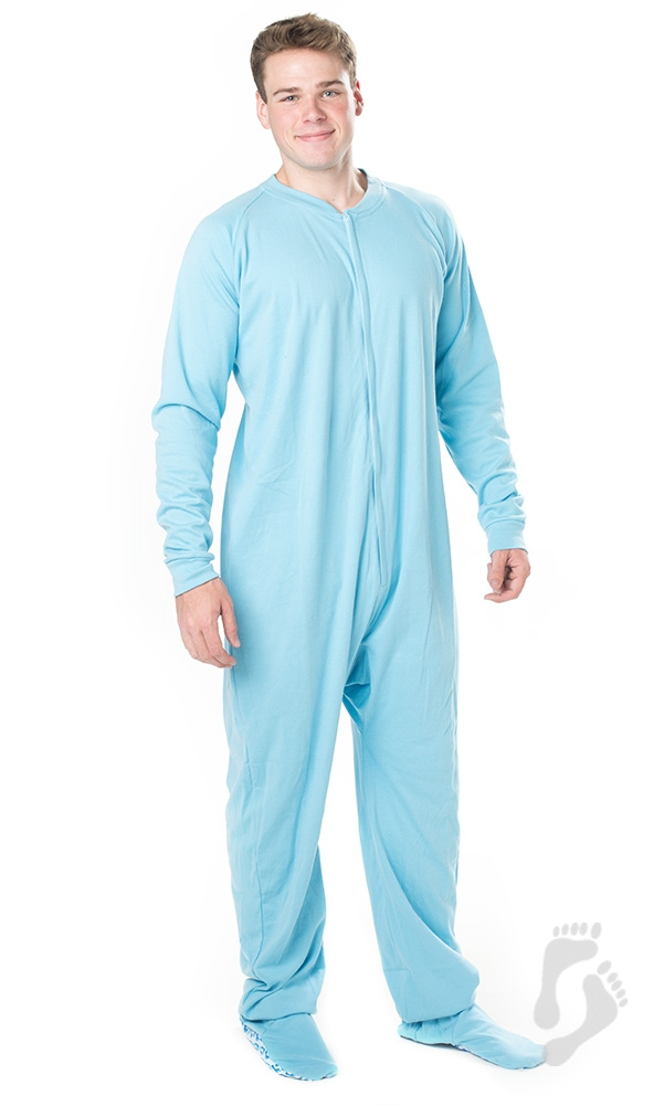 Footed Pajamas - Footed Pajamas - Baby Blue Adult Cotton ...