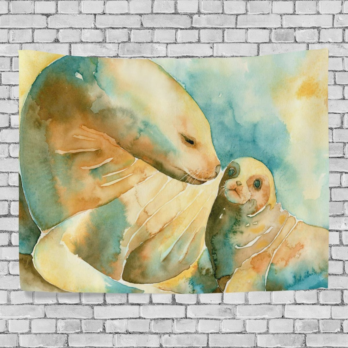POPCreation Oil Painting Sea Lions Home Decoration Wall Tapestry 80x60 inches