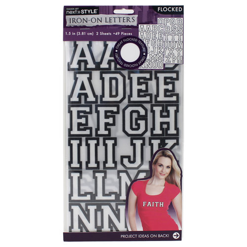 "Next Style 1.5"" Iron-On Flocked Letters, White/Black"