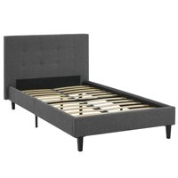 Modern Contemporary Urban Design Bedroom Twin Size Platform Bed Frame, Grey Gray, Fabric Wood
