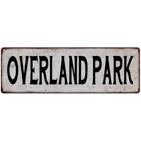 OVERLAND PARK Vintage Look Rustic Metal 8x24 Sign City State - Party City Overland Park