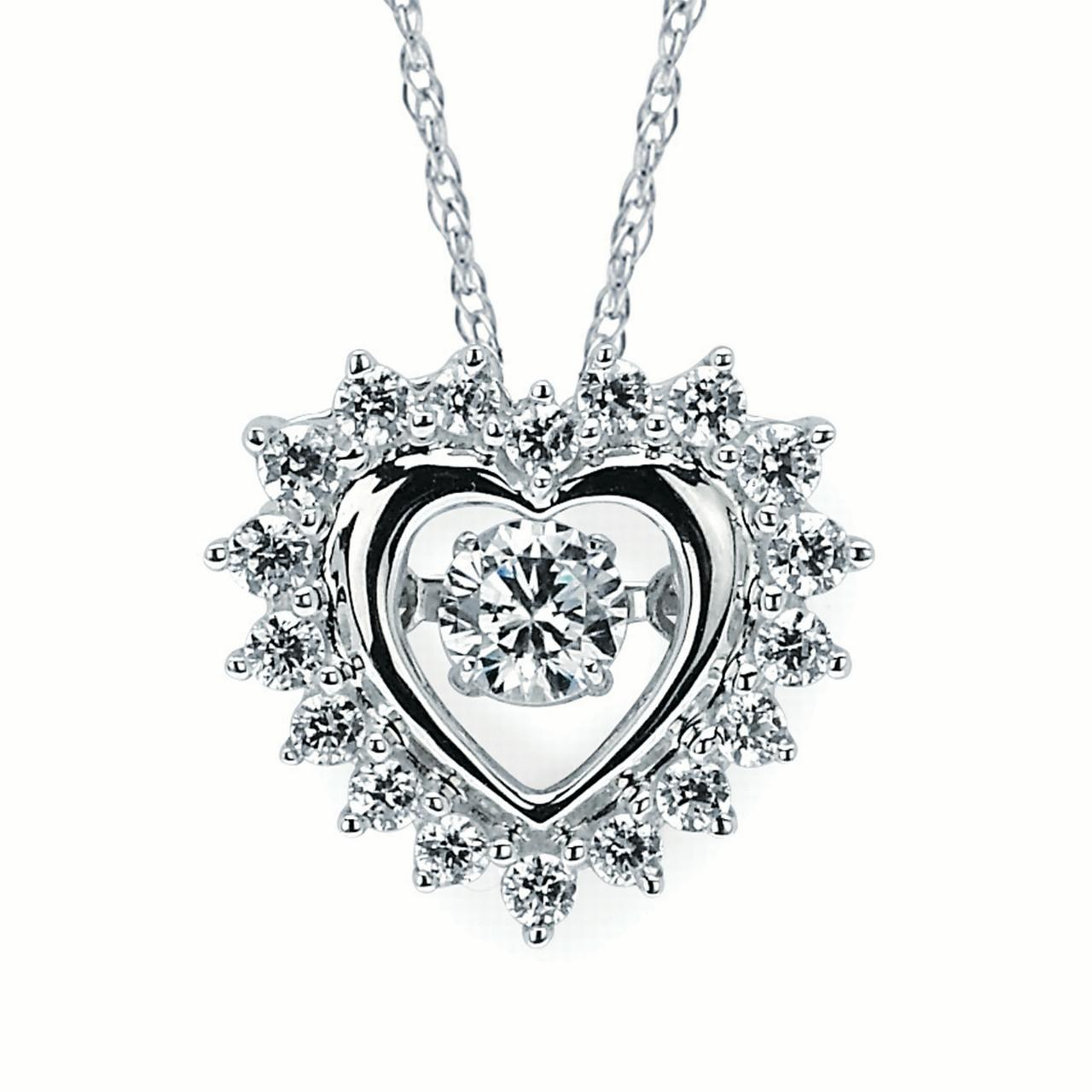 Brilliance in Motion 14K White Gold 1/2 Ctw. Dancing Diamond Heart Pendant Necklace (I, I1)