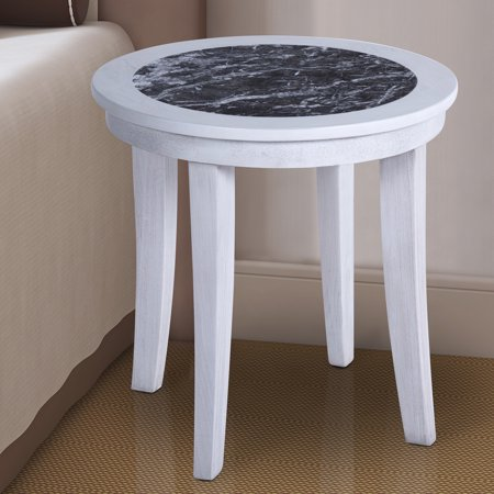 GranRest Natural Marble Top Solid Wood Base Round Side Table, Black / -