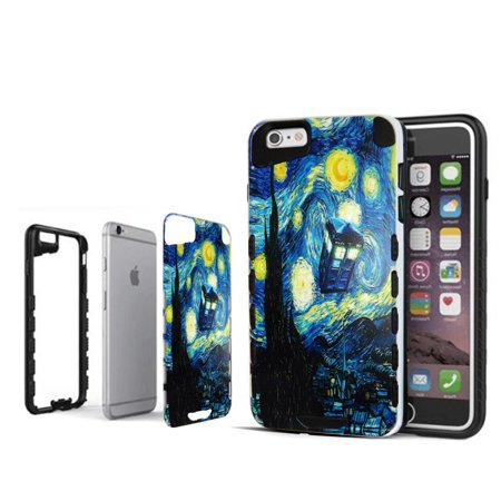 Starry Night Hybrid For iPhone 6 Advanced Ultra Shock Proof  Lightweight case Drop Protective Case Cover TPU+PC Case Shock Absorb Enhanced Bumper Case Dual Layer Designer Case Shield Cell Phone (Designer Cell Phone Case)