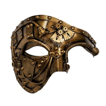 BeMasqued Steampunk Phantom Mask Gold Venetian Masquerade Ball Cosplay Prom Costume Party Mens Unisex Adult - Steampunk Half Mask