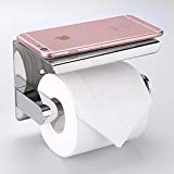 Toilet Paper Holder Sumnacon Stainless Steel Bathroom Tissue Holder with Mobile Phone Storage Shelf Wall Mount