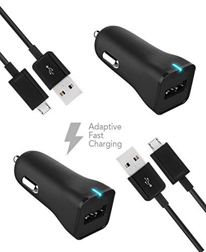 ZTE Blade L2 Charger Micro USB 2.0 Cable Kit by TruWire {2 Car Charger + 2 Micro USB Cable} True Digital Adaptive Fast Charging uses dual voltages for up to 50% faster charging!