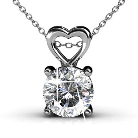 Cate & Chloe Marian 18k White Gold Pendant Necklace w/Swarovski Crystals, Beautiful Heart Necklace for Women, Round Cut Diamond Crystal Necklace, Silver Chain Necklace - MSRP $129