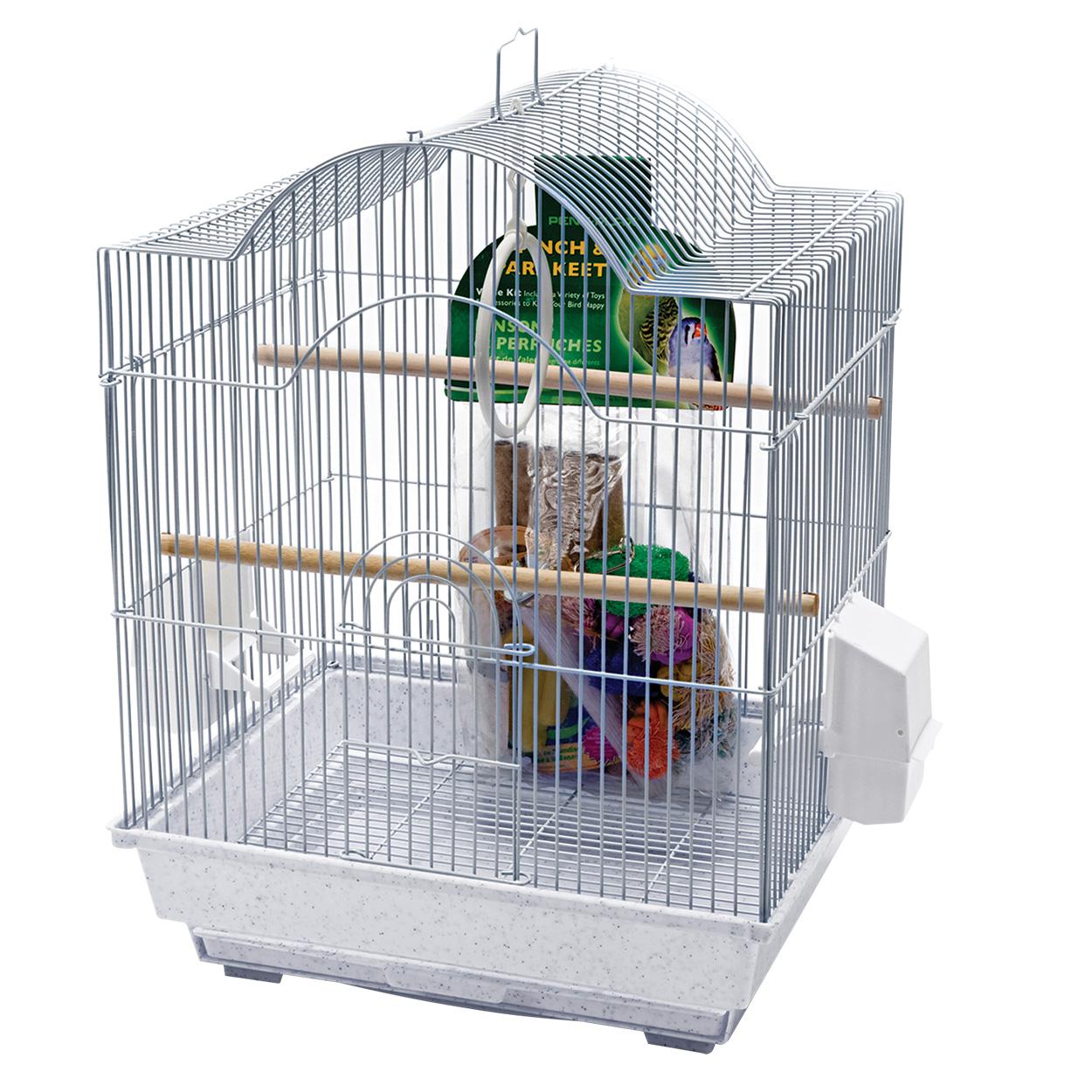 Penn Plax Small Bird Cage Kit - Arch-Style - White