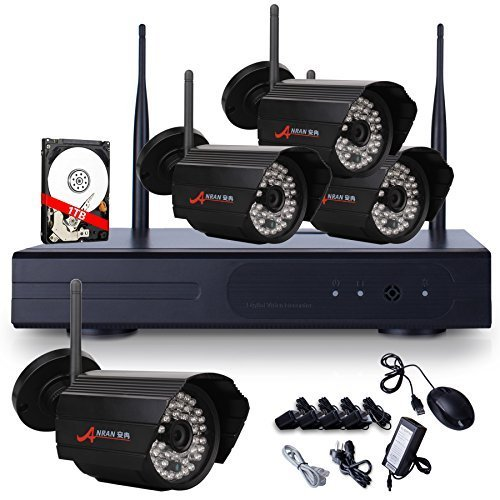 ANRAN 4CH 720P WIFI NVR HD 1280*720P Home Security System with 4 Indoor/ Outdoor Weatherproof Superior Night Vision HD 7