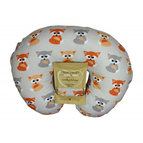 Nursing Pillow Slipcover Baby Gray Foxes Design Maternity Breastfeeding Newborn Infant Feeding Cushion Cover... by Adorology