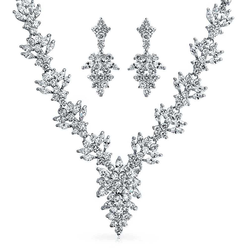 Bling Jewelry Marquise CZ Bridal Necklace Drop Earrings Set Rhodium Plated