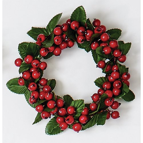 The Holiday Aisle Plastic Berry Candle Ring with Leaf (Set of 2)