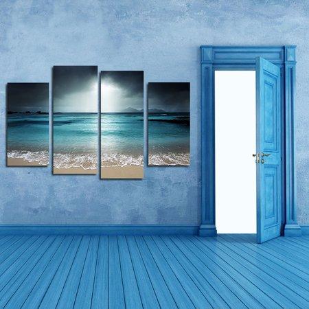 4 Panels Azure Sea Sky Seascape Unframed Oil Paintings Wall Art Decor for Living Room Art Oil Painting Contemporary Seascape