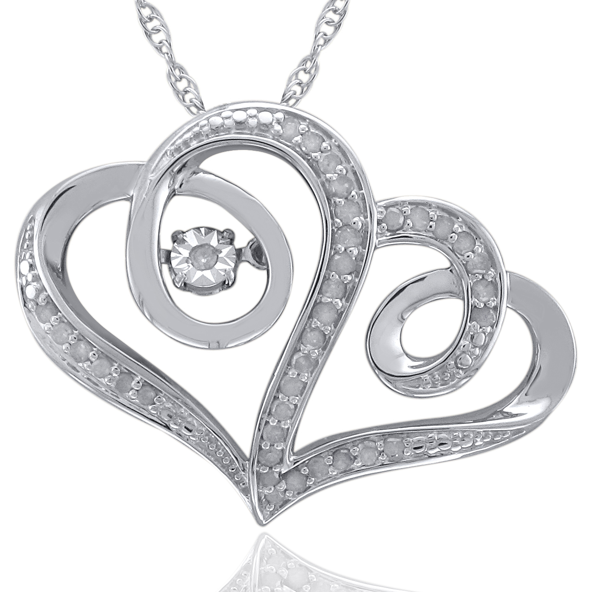 Heart 2 Heart 1/4 Carat T.W. Diamond Sterling Silver Floating Pendant with Chain