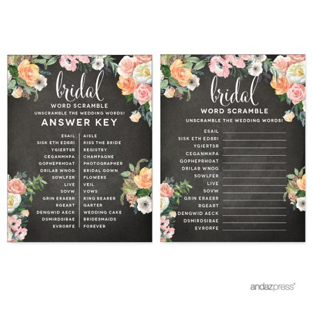 peach chalkboard floral garden party wedding collection wedding word scramble bridal shower game cards
