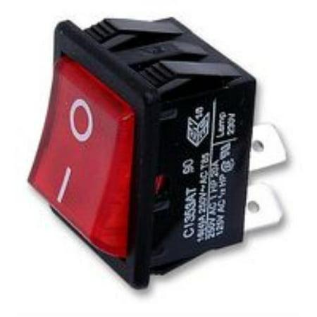 2X  C1353ATNAN - Rocker Switch, Illuminated, DPST, On-Off, Red, Panel, 16 A