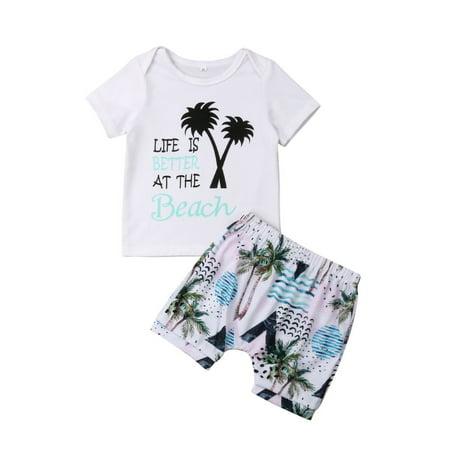 Toddler Baby Kids Girls Boys Short T-shirts+Harlan Shorts Summer Clothes 2Pcs Outfits Beach Hawaii Set