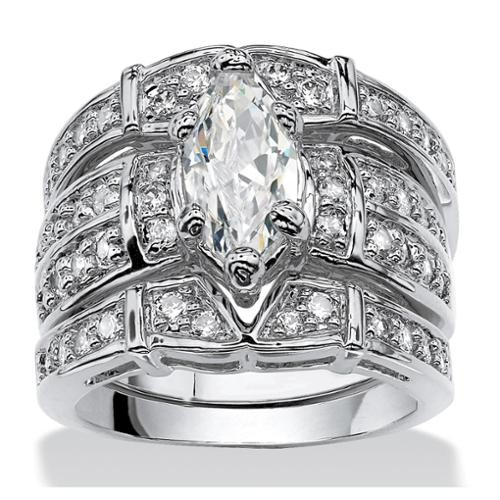 3.05 TCW Marquise-Cut Cubic Zirconia Silvertone Bridal Engagement Ring Wedding Band Set - Size 5