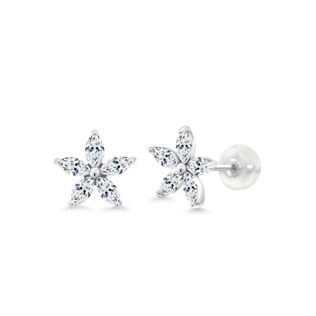 10K White Gold Stud Earrings Set with Marquise White Zirconia from Swarovski