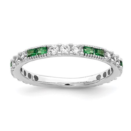 Band Peridot Ring - Sterling Silver Rhodium-plated Synthetic Green Spinel & Cubic Zirconia Band Ring Multiple Sizes