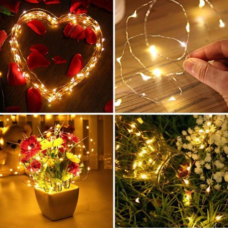 luckled 2 set battery operated starry christmas string lights 20ft 60 led 8 modes dimmable