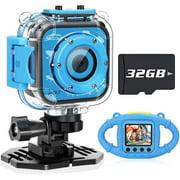 VanTop Junior K3 Kids Camera Underwater Digital Kids Action Camera 1080P Sports Camera Camcorder for Boys Girls, 32GB SD Card (Blue) - Best Reviews Guide