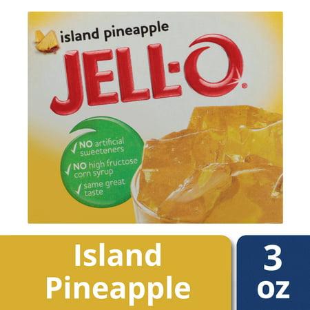 (4 Pack) Jell-O Island Pineapple Gelatin Mix, 3 oz (Gelatin Purified Water)