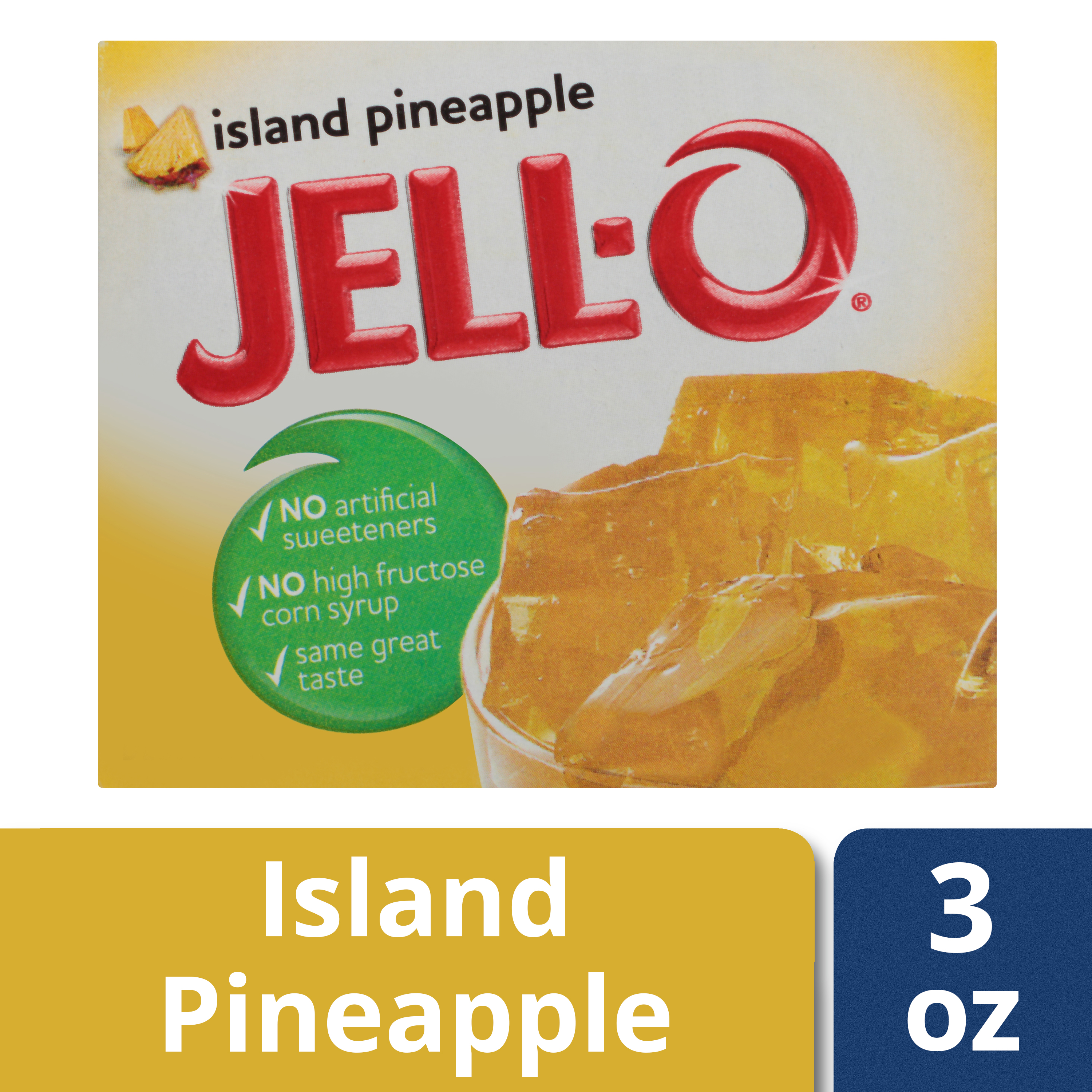 (4 Pack) Jell-O Island Pineapple Gelatin Mix, 3 oz Box
