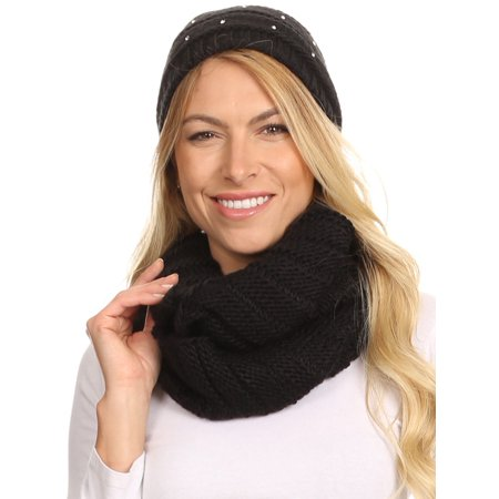 Sakkas Sayla Rhinestone Jewel Soft Warm Woven Cable Knit Beanie Hat And Scarf Set - Black - - Black Cowgirl Hat With Rhinestones