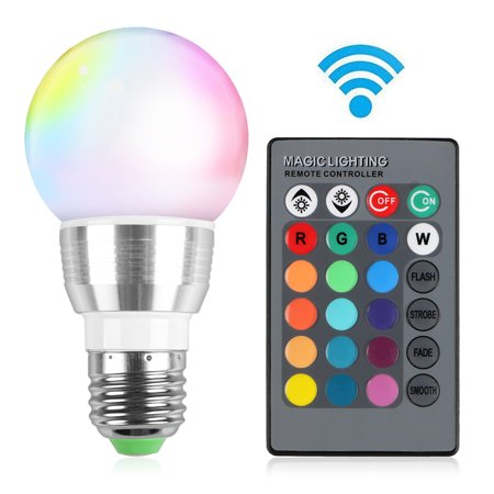 TSV 16 Color Changing RGB LED SD Light Bulb Lamp 3W E27 Standard Screw Base Lifespan 25000h with Remote Control for Decorating Home,Bar, Party, KTV